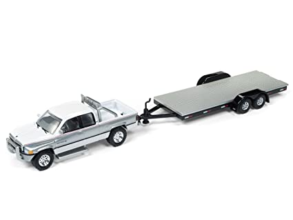 amazon com 1996 dodge ram white and silver with car trailer limited