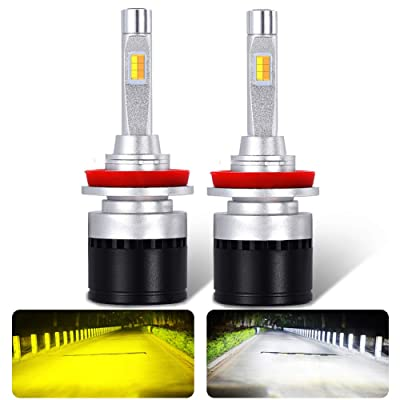 Ai Qiliang H8/H9/H11 LED headlights Dual color High/Low beam bulbs fog lamp for car 2 Color Temperature 3300K warm yellow and 6000K white light Waterproof IP68 3 years warranty 2 pack: Automotive