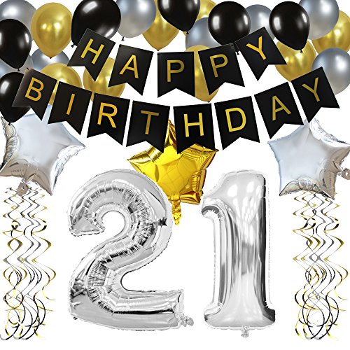KUNGYO Classy 21ST Birthday Party Decorations Kit-Black Happy Brithday Banner,Silver 21 Mylar Foil Balloon, Star, Latex Balloon,Hanging Swirls, Perfect 21 Years Old Party Supplies