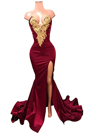 Womens Velvet Mermaid Prom Dresses Long Side Split V-Neck Gold Applique Backless Evening Gowns