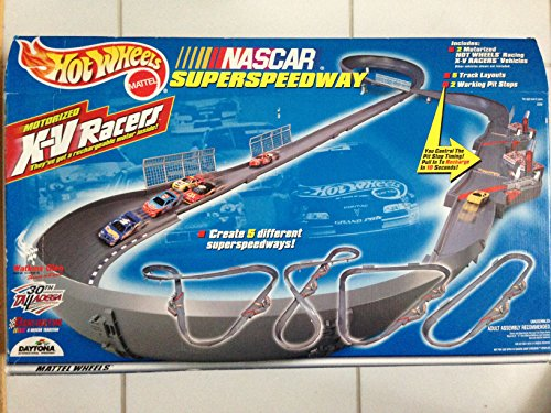 Hot Wheels Motorized X-V Racers NASCAR Superspeedway with 2 Working Pitstop Chargers. Includes 2 Motorized Hot Wheels Racing XV Racers Rechargeable NASCAR Vehicles. Create 5 Different Superspeedways Like Daytona 500, Talladega, Darlington, Watkins Glen. Compatible with Sizzlers and Charge Ups. (Xv Racer)