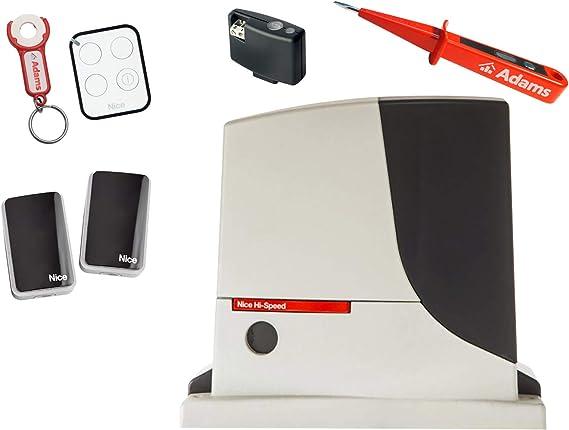 Nice ROBUS 500HS KIT - Motor para puerta corredera (500 kg, 1 emisor ON3EBD con ADAMS colgante + barreras de luz EPMB Set 4 en 1 HI-SPEED + comprobador de corriente ADAMS: Amazon.es: Bricolaje y herramientas