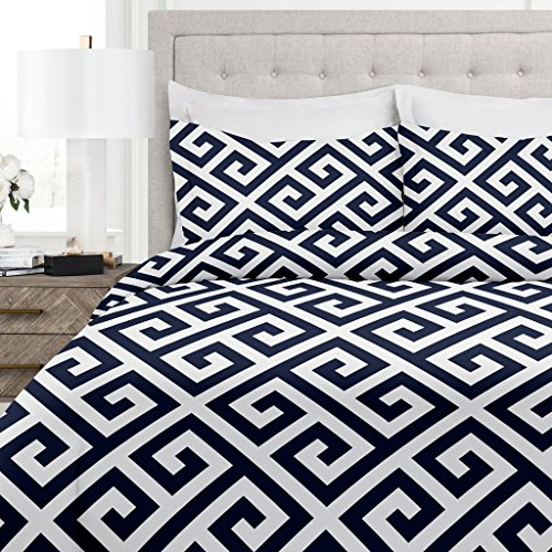 Italian Luxury Greek Key Pattern Duvet Cover Set - 3-Piece Ultra Soft Double Brushed Microfiber Printed Cover with Shams - Full/Queen - Navy/White