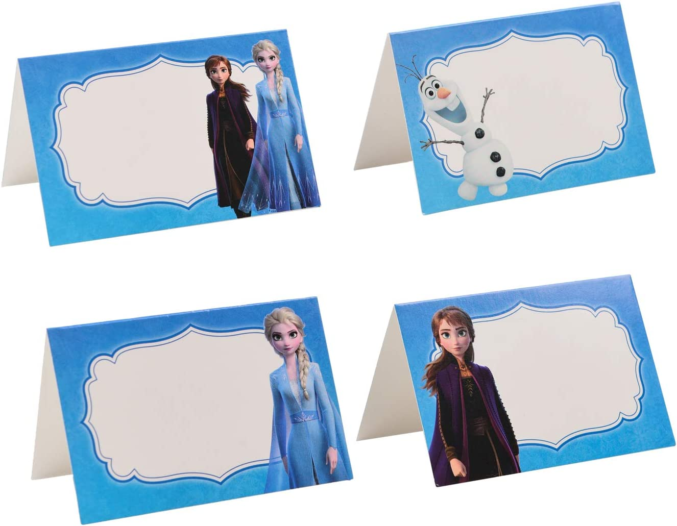 24 Pieces Place Cards for Frozen Theme Party - Princess Birthday Party Supplies Food Tents and Food Labels Decorations, Elsa Anna Baby Shower Party Supplies
