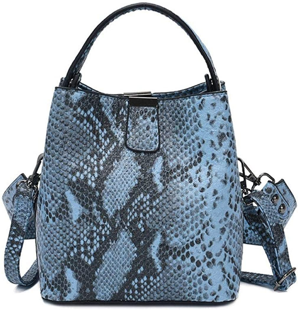 Gets Womens Snakeskin Bucket Clutch Purse Fashion Retro Evening Bag PU Leather Shoulder Crossbody Bags Cocktail Party