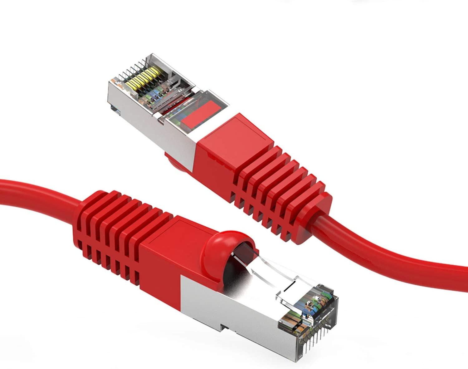 26AWG Network Cable with Gold Plated RJ45 Snagless//Molded//Booted Connector 10-Pack - 35 Feet CABLECHOICE Cat5e Shielded Ethernet Cable 350MHz 1Gigabit//Sec High Speed LAN Internet Cable Red