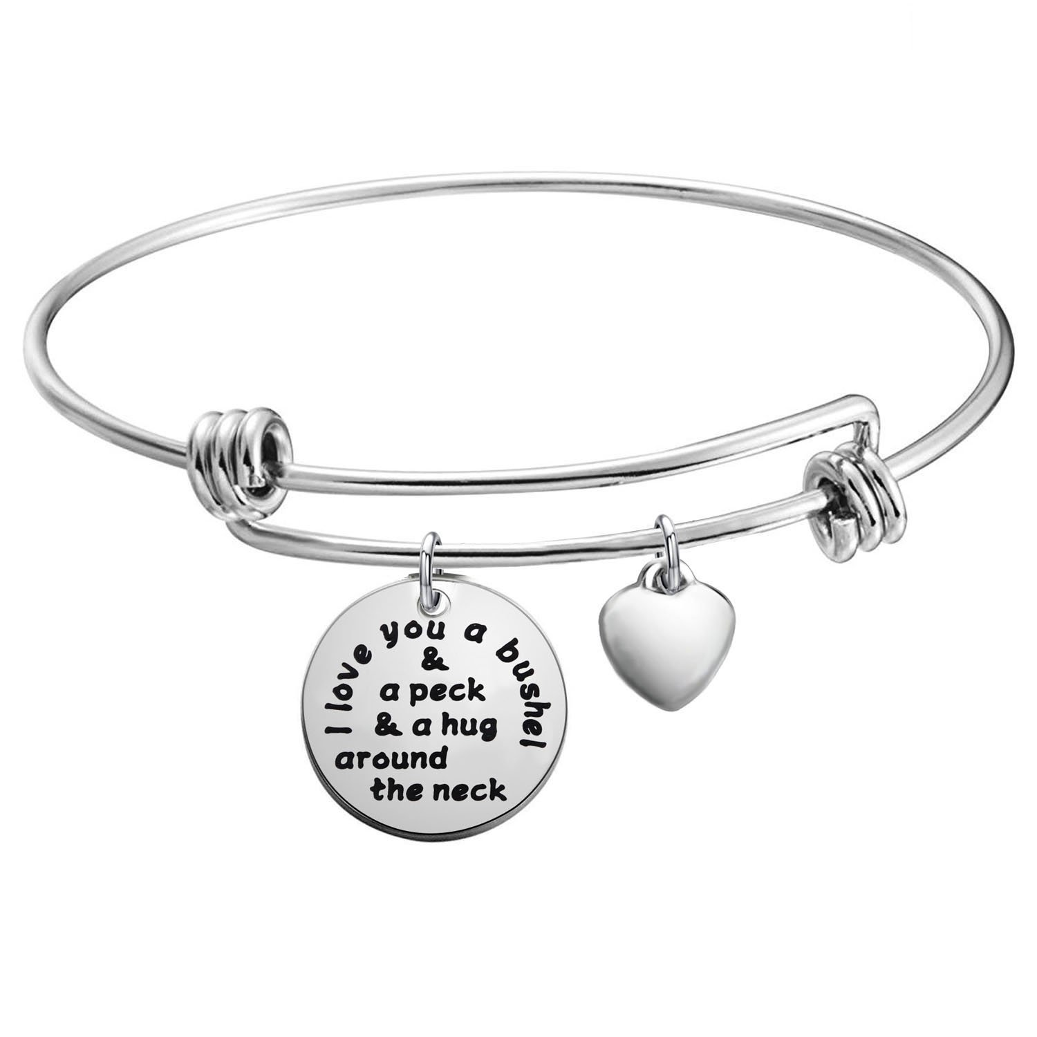 KUIYAI I Love You a Bushel and a Peck Bracelet Mom Grandma Bracelet (Silver)