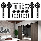 Hahaemall 5-16FT Antique Big Black Wheel Double Sliding Barn Wooden Door Hardware Metal Track Kit Best Heavy ( 16FT Double Door Kit )