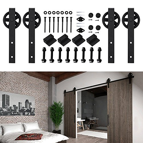 Hahaemall 5-16FT Antique Big Black Wheel Double Sliding Barn Wooden Door Hardware Metal Track Kit Best Heavy ( 16FT Double Door Kit ) by Hahaemall