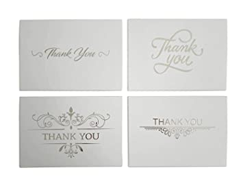 Amazon Com Thank You Cards Silver 100 Blank Note Card With 4x6
