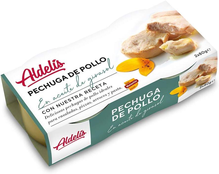 Casa Matachín 010206 Aldelís Conserva Pollo Aceite Pack 80 x 2, 2 Unidades, 160 g, Pack de 16
