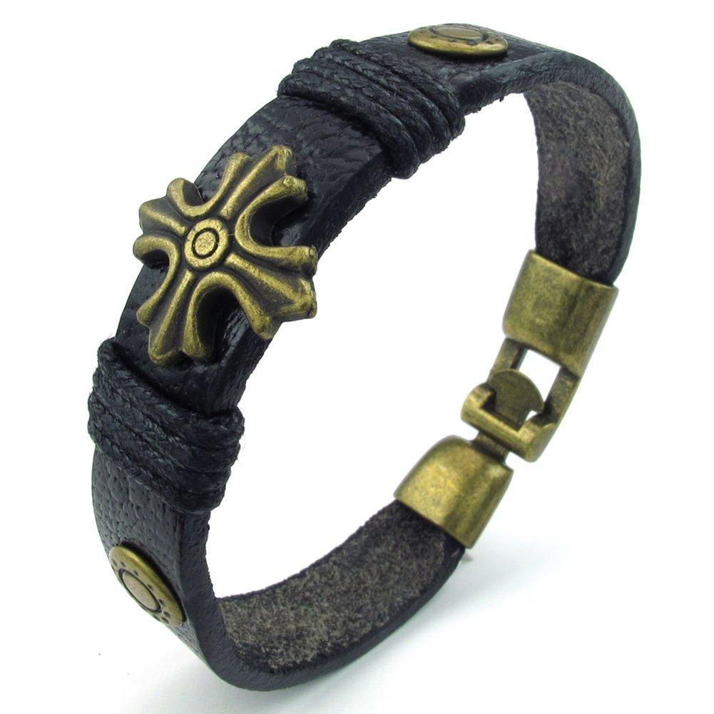 Black Golden TEMEGO Jewelry Mens Leather Bracelet Gothic Cross Charm Cuff Bangle