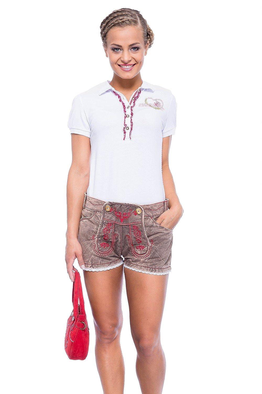 Krüger - Damen Trachtenhose kurz im Lederhosen-Look mit Spitze in Rot, Comfy (natur) (Artikelnummer: 37313-7609) Größe:34 Farbe:braun/rot