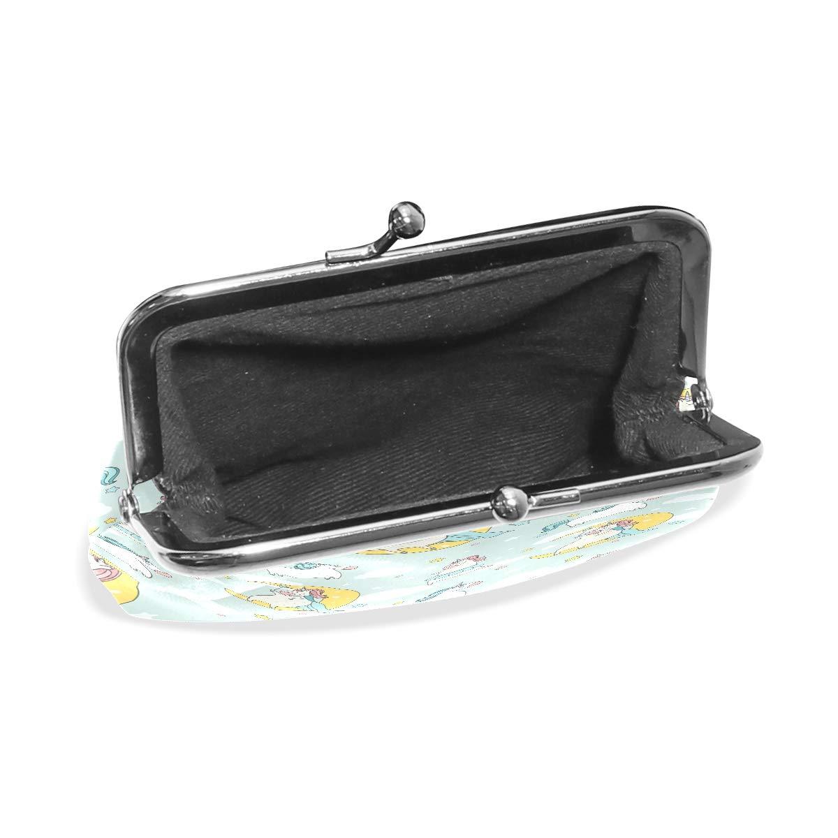Women Wallet Purse Cartoon Unicorn Seamless Pattern Animal Clutch Bag Leather
