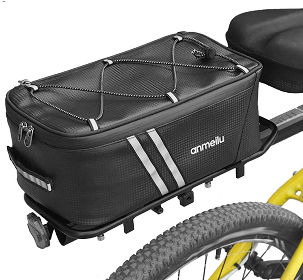 Lixada Bike Trunk Bag Bicycle Rack Rear Carrier Bag 7L Bicycle Commuter Bag Water Resistant Bike Rack Bag with Rain Cover