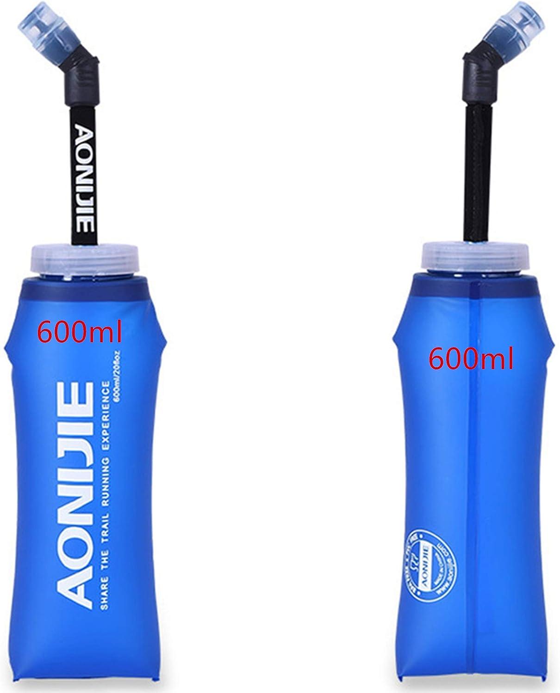 AONIJIE 2 350ML/600ML Botella Blanda comprimible, sin BPA, para Corredores,Running Soft Flask Botella con Pajita