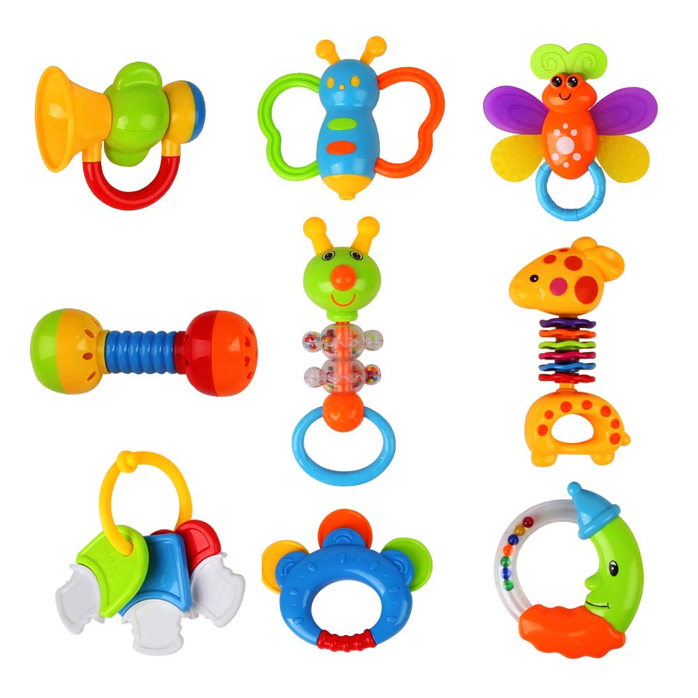 Baby Toys Rattles Teether and Shakers 9 PCS, Baby Newborn Gift Set for Hand Development Early Educational Toys for 3, 6, 9, 12 Month Newborn Baby, Toddler (Some Item Color Pick Randomly)