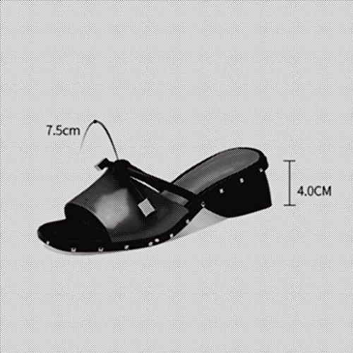 Chaussures Les Femmes et Blanc UK4 EU37 de épais avec Escarpin Rivets d'orteil 5 d'orteil de Couleur de Sandales Ouvertes CN37 5 Blanc Talon Taille MUMA Pantoufles vYX6U1wqv
