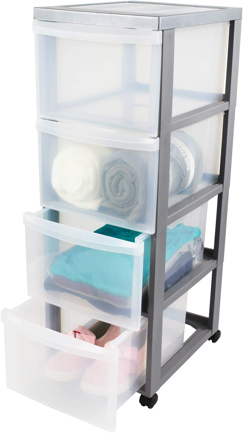44 L Iris Ohyama plastique armoire de rangement sur roulettes /à 4 tiroirs DC-322 40 x 29 x 62 cm Design Chest noir//transparent