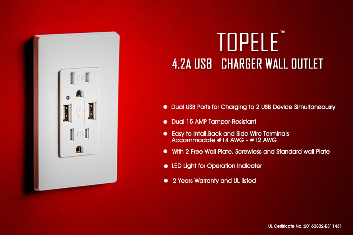TOPELE High Speed USB Charger Outlet, 4.2a USB Wall Charger with 15A Tamper-Resistant Duplex Receptacle, Child Proof Safety, Wall Plates Included, UL Listed, White by TOPELE (Image #2)