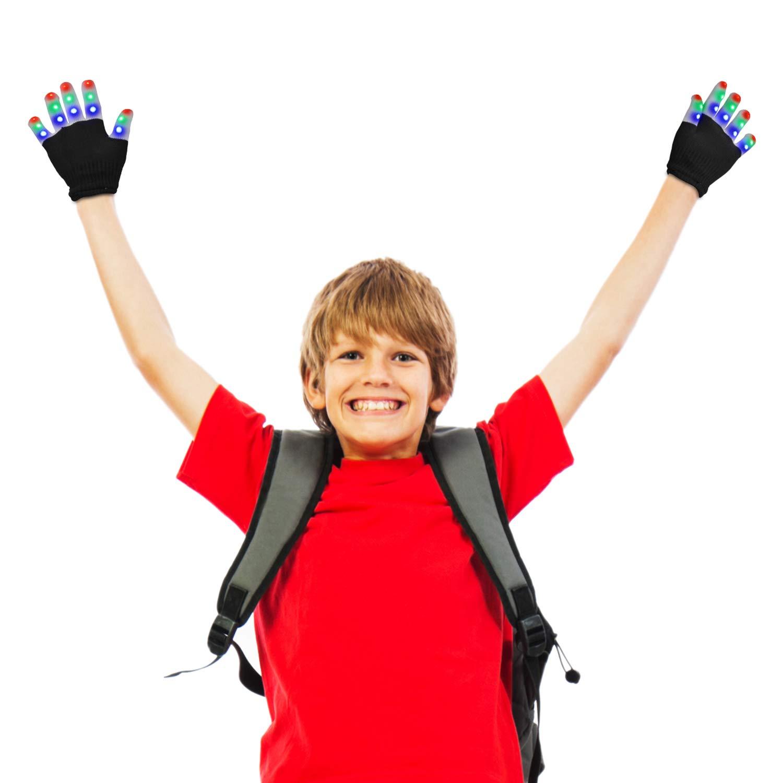 LSXD LED Gloves for Kids, Flashing Finger Light Kids Gloves Toys for Halloween, Party, Christmas, Birthday Gift