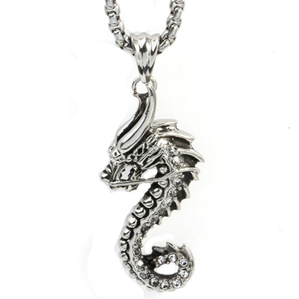 MoAndy Stainless Steel Jewelry Mens Pendant Necklace Dragon Cubic-Zirconia White