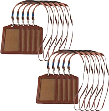 10 Pack Vertical Leather Business ID Badge Cards Holder /& Lanyard Neck Strap