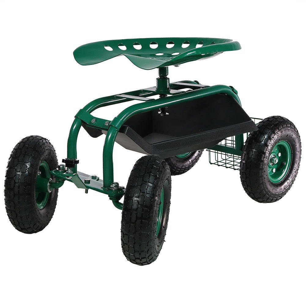 Sunnydaze Rolling Garden Cart Scooter with Wheels, 360 Swivel Seat, and Utility Tool Storage Basket, Green by Sunnydaze Decor
