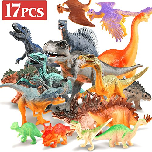 Jamber Dinosaur Toys Realistic Dinosaur Action Figures Jungle Animal Figures Toys For Kids Educational Dino Toys For Toddlers Boys As Party Favors Including T Rex Velociraptor Triceratops 17Pack