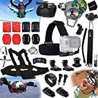 Xtech® SKYDIVING and AIR Sports Accessories Kit for GoPro HERO4 SESSION, HERO4, Hero 4 Hero4 Hero3 Hero2, Hero 4 Silver, Hero 4 Black, Hero 3+ Hero3+ and for Bungee Jumping, Cliff Diving, Parachuting, Sky-Surfing, Base Jumping, Paragliding, Hang Gliding Includes: Helmet Harness Mount + Head Strap Mount + Chest Strap Mount + Camera Wrist Mount + 2 J-Hooks + Selfie Stick Monopod Pole + MORE