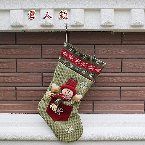 [Christmas Sock Santa Claus Snowman Xmas Decoration Tree Snowflake Ornament (Green / Snowman)] (Customes Halloween Maternity)