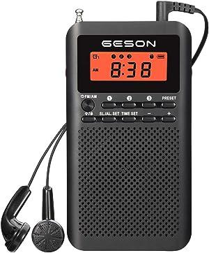 AM FM Radio Portable Pocket Digital Tuning Battery Operated Transistor Radios Best Reception Sleep Timer Preset Alarm Clock and Earphone Black