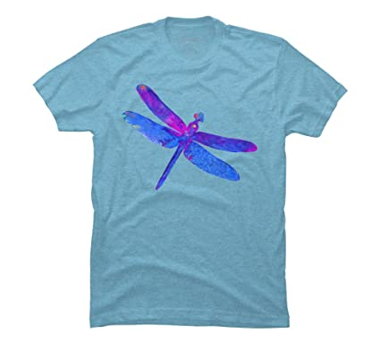 3c7c14a4c Design By Humans Blue Swirl Dragon Fly Men's Small Sky Blue Heather Graphic T  Shirt