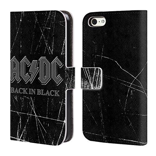 Officiel AC/DC ACDC En Arrière Dans Noir Logo Étui Coque De Livre En Cuir Pour Apple iPhone 5c