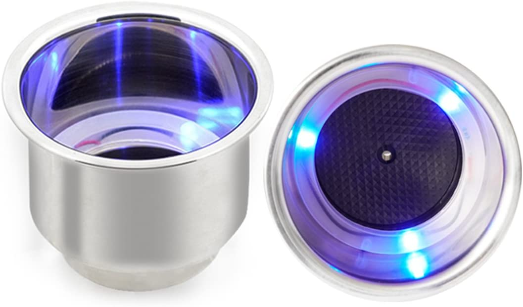 THALASSA Stainless Steel Cup Holder Insert with 3 Pcs Blue LEDs - 2 Pieces Beverage Boat Bottle Drop in Cup Holders for Auto Vehicle, Luminous Movable Drink Base with Drain for Car Trunk Marine