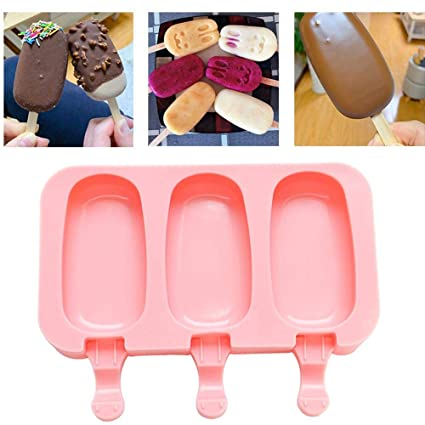Small Ice Lolly Mold with Wooden Sticks Ice Cream Mould Popsicle Molds Silicone BPA Free Ice Pop Maker Mold Ice-Cream Bar