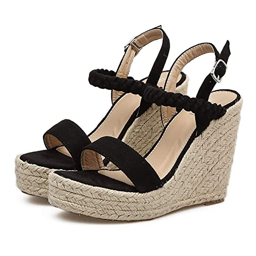 Amazon.com: HOSOME Women Sexy Wedge Sandals Pumps Platform High Heels Woven Hemp Loop Shoes: Clothing