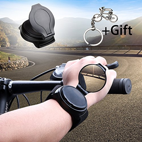 Bicycle Wrist Mirror, Wrist Band Bike Mirrors for Safety Cycling Rotatable Collapsible Cycle Backeye with Elastic Armband Portable Biking Accessories by West Biking (Image #3)