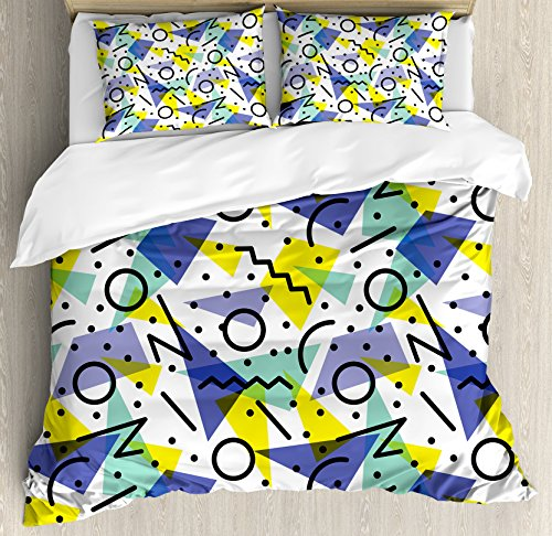 Ambesonne Modern Duvet Cover Set Queen Size, Geometrical Retro 80s Themed Image with Lines Circles and Spots Print, Decorative 3 Piece Bedding Set with 2 Pillow Shams, Yellow Black]()