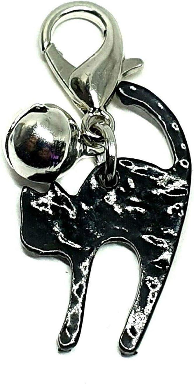 Eclectic Shop - Colgante de Gato Negro para Mascota, Collar de Plata con Campana de Bruja de Metal con Clip Grande