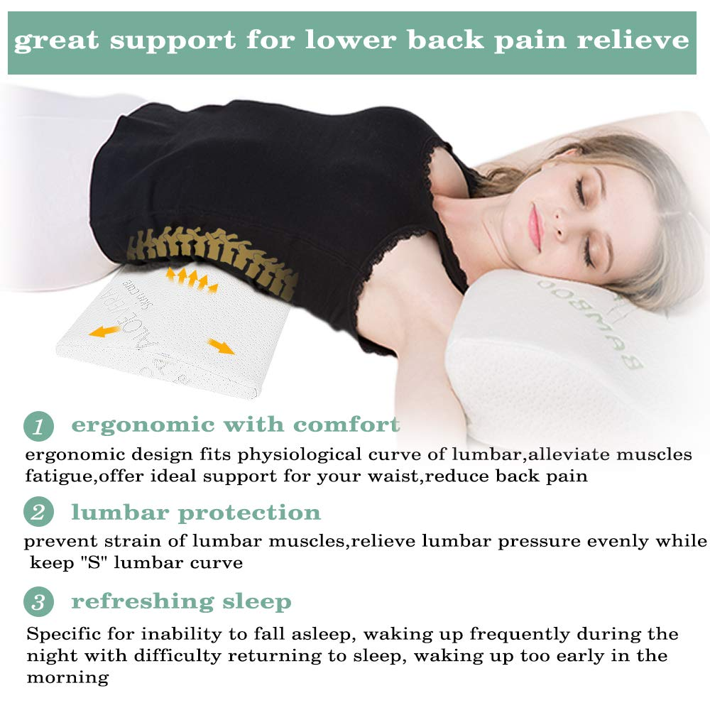 1.96 Lying Easylife 185 Soft Memory Foam Sleep Wedges Upgraded Multifunctional Lumbar Support Cushion for Lower Back Pain Sleeping on Side Lumbar Pillow Bed Back Support Sleeping Pillow Hip