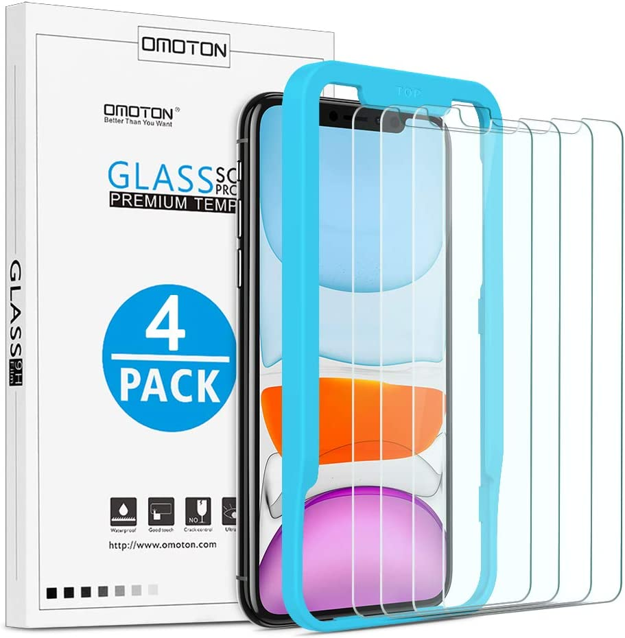 OMOTON [4-Pack] Screen Protector for iPhone 11 / XR (6.1inch) - Tempered Glass / Guide Frame / Easy Installation