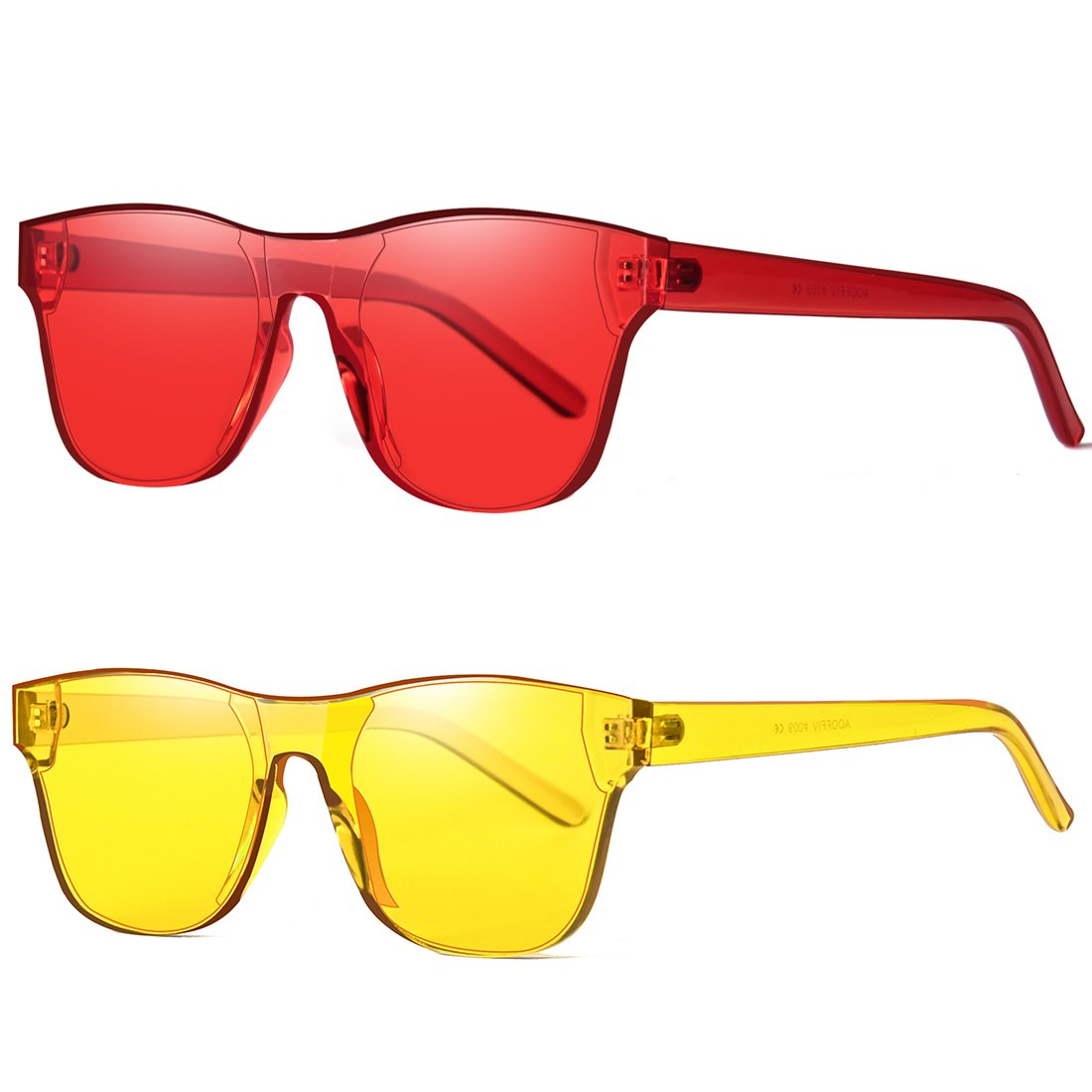 AOOFFIV One Piece Rimless Tinted Sunglasses Transparent Candy Color Wayfarer (Red+Lemon Yellow)