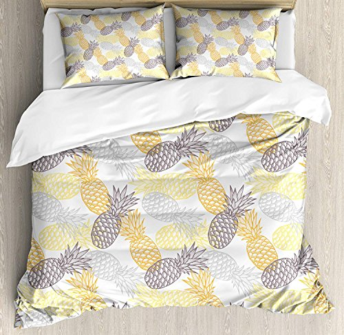 Fruits Duvet Cover 4 Piece Set Soft Toned Exotic Pineapple Figures Tropical Diet Food Artistic Illustration Ultra Soft Microfiber Bedding Set with Zipper Closure & Ties Marigold Dimgray (Full Size) (The Best Exotic Marigold Hotel 2019)