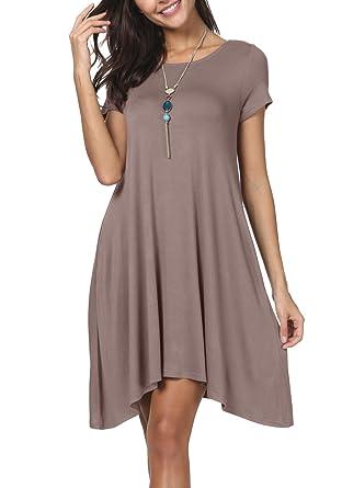 ad3b2dbce6e5e levaca Women's Summer Short Sleeve Casual Loose Tunic T Shirt Dress with  Pockets at Amazon Women's Clothing store: