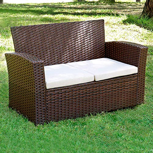 Living Essentials Patio Wicker Bench, Primrose Outdoor Loveseat Sofa Couch 2 Seats | Removable Beige Cushions | Backyard, Poolside, Garden, Lawn