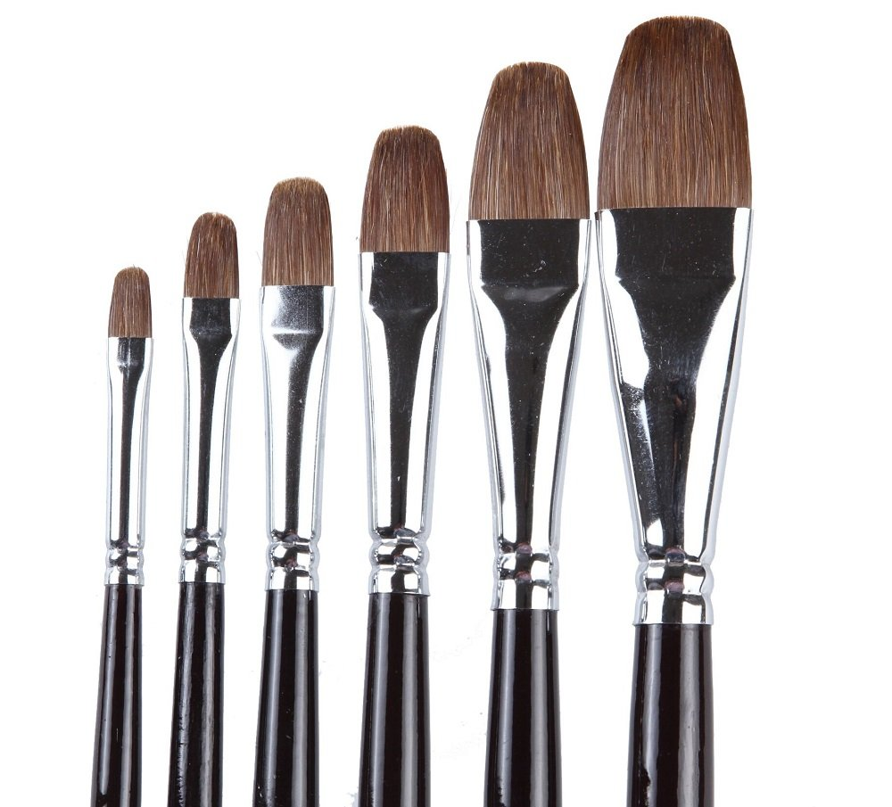 ARTIST PAINT BRUSHES - Professional 6PCS Red Sable (Weasel Hair) Long Handle, Filbert Paint Brush Set For Acrylic, Oil, Gouache and Watercolor Painting,Well-balance Birch Wooden Handle