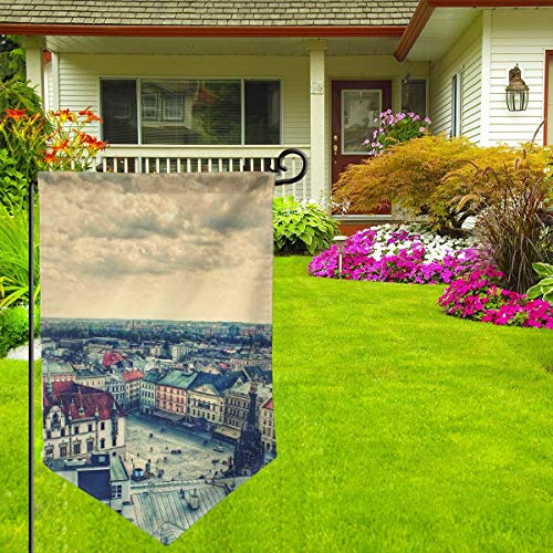 Kjaoi Holiday Yard Garden Flag - Prague Square Double Sided Front Door Flag Decorative Home Flag 12.518 Inch -