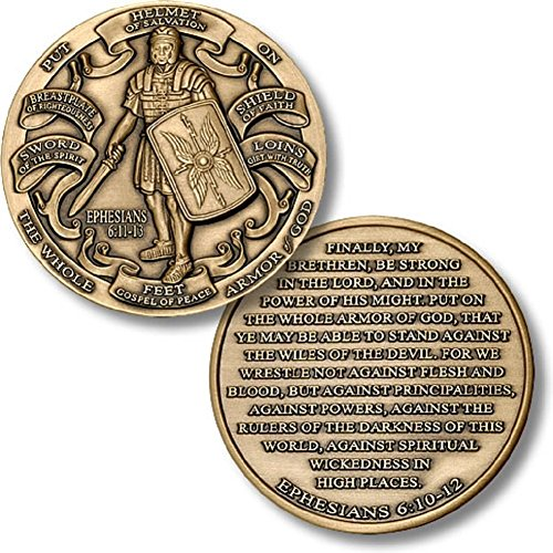 5 Pack Set of Challenges Coins Deluxe Collectors Set | Antique Finished Armor of God High Relief Challenge Coin- Officially Licensed Each Coin Comes w/ a Pl (5 Pack Antique Finished Armor of God)