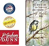 His Eye Is On The Sparrow Small 12x6 Fence Post